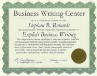 Technical Writing Course Certificate